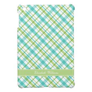 Green and Aqua Plaid Pattern Cover For The iPad Mini