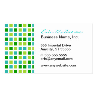 Green and Aqua Squares Pack Of Standard Business Cards