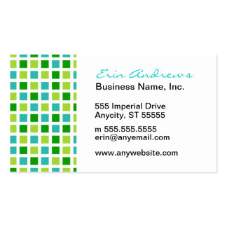 Green and Aqua Squares pattern Pack Of Standard Business Cards