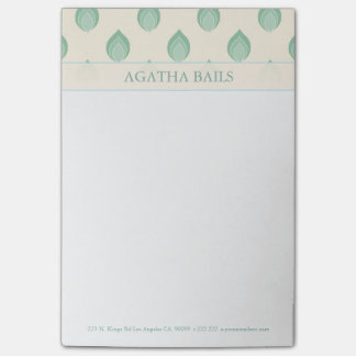 Green And Beige Abstract Flowers Post-it Notes