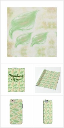 Green and beige leaf design
