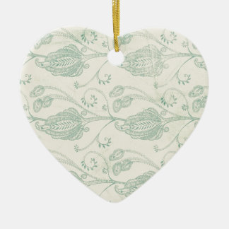 Green and Beige Paisley Print Ceramic Heart Decoration