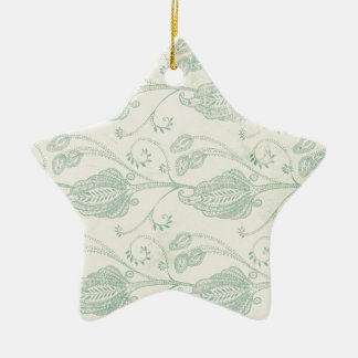 Green and Beige Paisley Print Ceramic Star Decoration