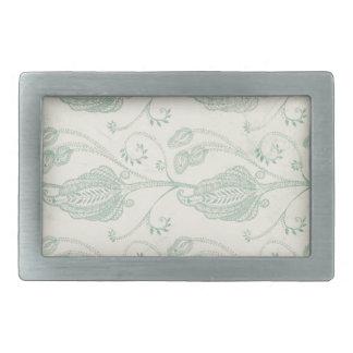 Green and Beige Paisley Print Rectangular Belt Buckle