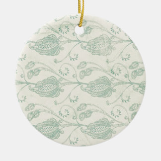 Green and Beige Paisley Print Round Ceramic Decoration