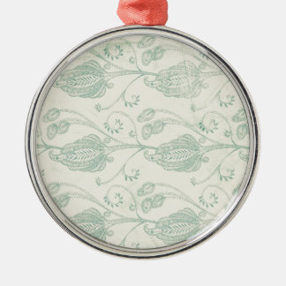 Green and Beige Paisley Print Silver-Colored Round Decoration