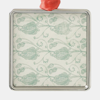 Green and Beige Paisley Print Silver-Colored Square Decoration