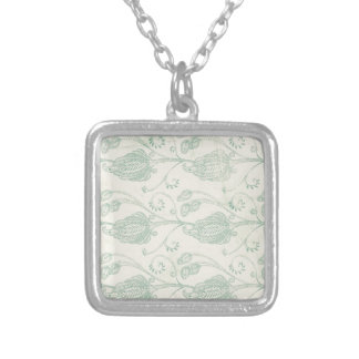 Green and Beige Paisley Print Silver Plated Necklace