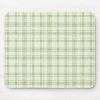 Green and Beige Plaid Check Pattern Mouse Pad