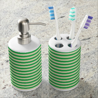 Green and Beige Stripes Soap Dispenser And Toothbrush Holder