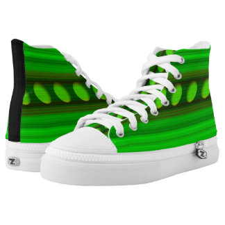 Green and Black Abstract High Tops Printed Shoes