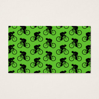 Green and Black Bicycle Pattern. Business Card