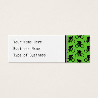Green and Black Bicycle Pattern. Mini Business Card