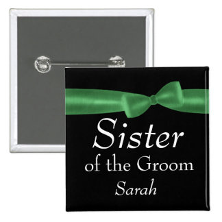 Green and Black Bow Wedding Party Role Name Pin