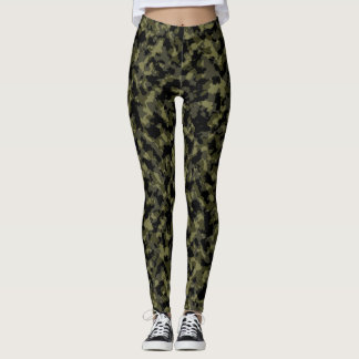 Green and Black Camo Leggings