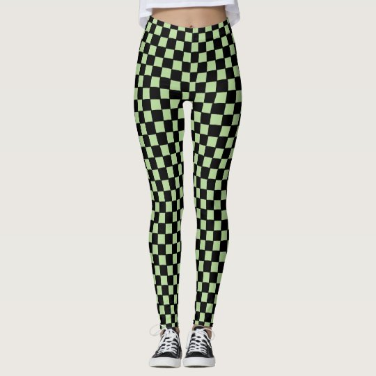 Green and Black Check Racing Style Custom Leggings