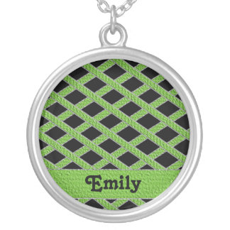 Green and black crisscross monogram necklace round pendant necklace