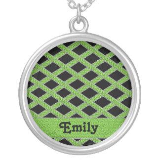 Green and black crisscross monogram necklace