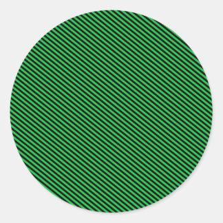 Green and Black Diagonal Stripes Classic Round Sticker