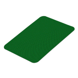 Green and Black Diagonal Stripes Rectangle Magnet