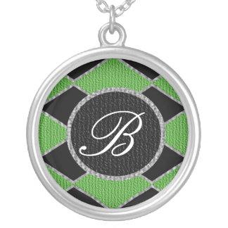 Green and black diamond monogram sparkle necklace