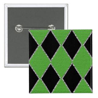 Green and black diamond sparkle button