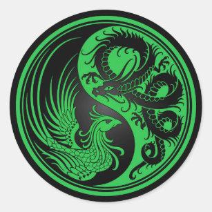 Green and Black Dragon Phoenix Yin Yang Classic Round Sticker