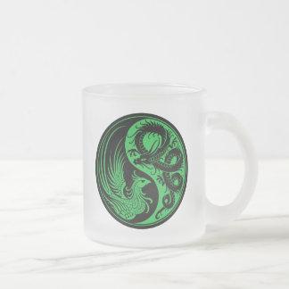 Green and Black Dragon Phoenix Yin Yang Frosted Glass Coffee Mug