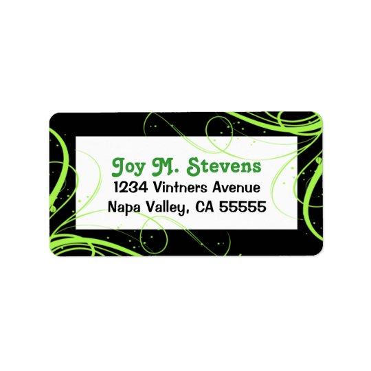 Green and Black Festive Address Label