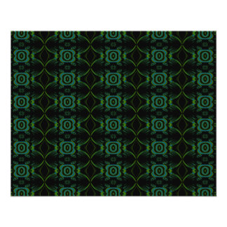 Green and black floral pattern. flyer