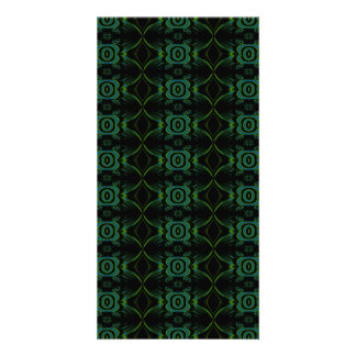 Green and black floral pattern photo cards