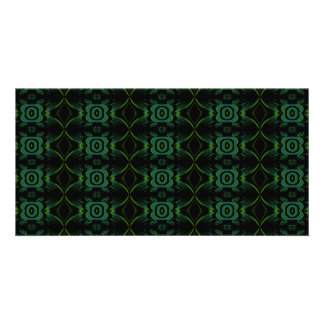 Green and black floral pattern custom photo card