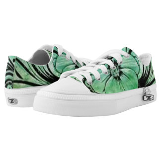 Green and Black Floral Printed Shoes