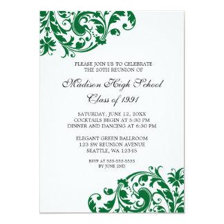 Green and Black Flourish Class Reunion 13 Cm X 18 Cm Invitation Card