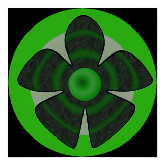 green and black flower poster