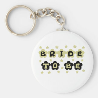 Green and Black Flowers Bride to Be Key Chain