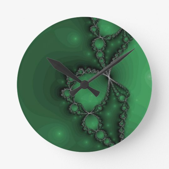 Green and Black Fractal Jewels Round Clock