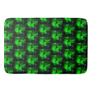 Green and Black Geometrical Abstract Pattern Bath Mats