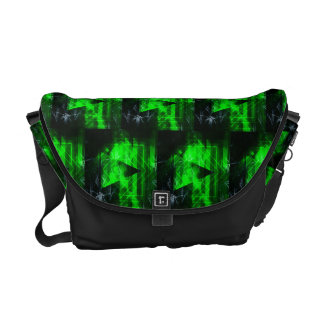 Green and Black Geometrical Abstract Pattern Courier Bags