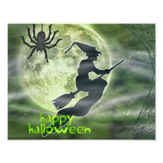 Green and Black Halloween Witch and Spider Photo