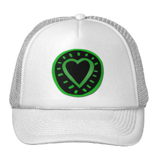 Green and black Heart - Hat