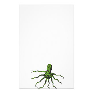 Green and Black Illustrated Octopus Stationery