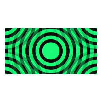 green_and_black_interlocking_concentric_circles customised photo card
