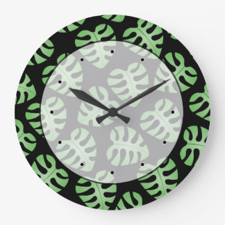 Green and Black Leaf Pattern. Large Clock