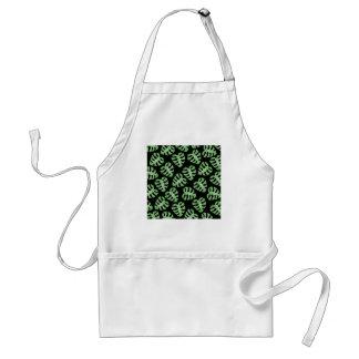 Green and Black Leaf Pattern. Standard Apron