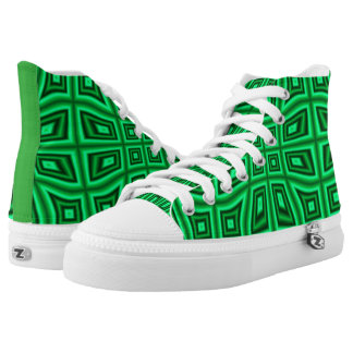 GREEN AND BLACK OPTICAL ILLUSION HIGH TOP SNEAKERS