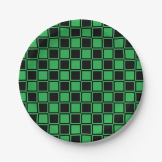 Green and Black Outlined Squares Paper Plate