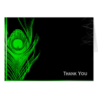 Green and Black Peacock Note Card