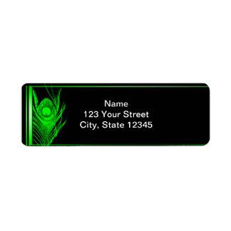 Green and Black Peacock Return Address Label