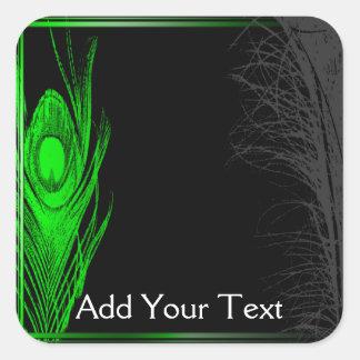 Green and Black Peacock Square Sticker
